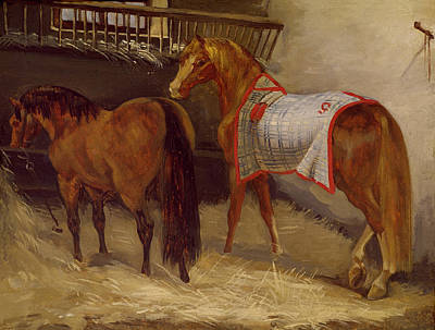 Horses In The Stables  Poster by Theodore Gericault