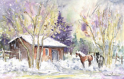 Horses In Voerstetten In Winter Poster by Miki De Goodaboom