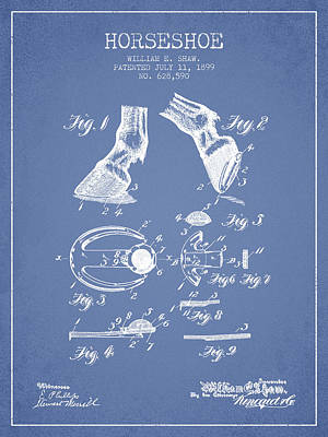 Horseshoe Patent From 1899 - Light Blue Poster by Aged Pixel