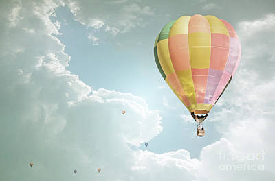 Hot Air Balloon Enchanted Clouds Poster by Andrea Hazel Ihlefeld