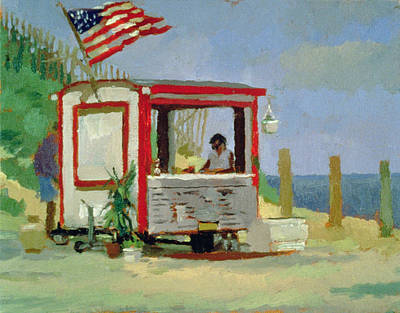 Hot Dog Stand Oil On Canvas Poster by Sarah Butterfield