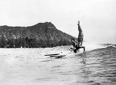 Hot Dog Surfers At Waikiki Poster by Underwood Archives