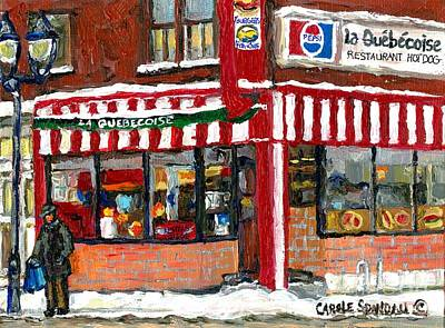 Hot Food On A Cold Day Quebec Restaurant Winter Scene Paintings Waiting For The Bus Montreal Art  Poster by Carole Spandau