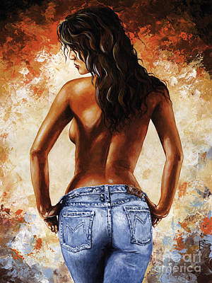 Hot Jeans 02 Blue Poster by Emerico Imre Toth