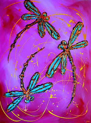 Hot Pink Dragonfly Flit Poster by Lyndsey Hatchwell