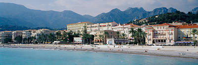 Hotels On The Beach, Menton, France Poster by Panoramic Images