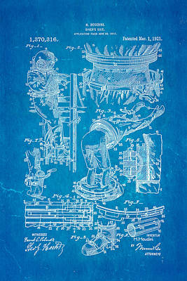 Houdini Diving Suit Patent Art 1921 Blueprint Poster by Ian Monk