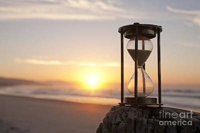 Hourglass Sand Timer Beach Sunrise Poster by Colin and Linda McKie