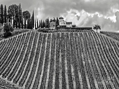 House On A Hill-tuscany-bw Poster by Jennie Breeze