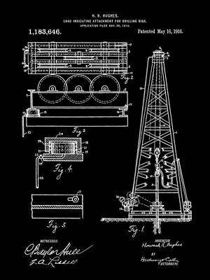 Howard Hughes Drilling Rig Patent 1914 - Black Poster by Stephen Younts