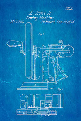 Howe Sewing Machine Patent Art 1846 Blueprint Poster by Ian Monk