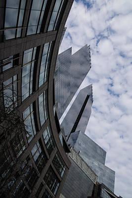 Hugging The Clouds At Columbus Circle - Manhattan New York City Poster by Georgia Mizuleva