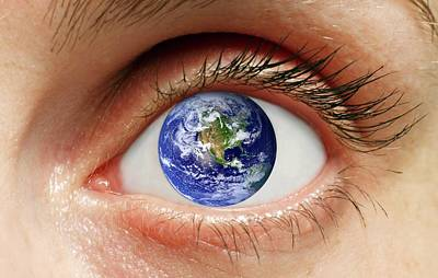 Human Eye With Planet Earth Poster by Victor De Schwanberg