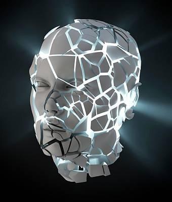 Human Head With Cracks Poster by Andrzej Wojcicki