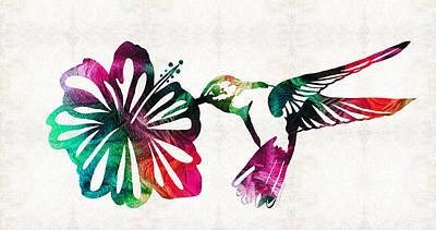 Hummingbird Art - Tropical Chorus - By Sharon Cummings Poster by Sharon Cummings
