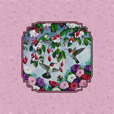 Hummingbirds And Flowers Pink Pillow And Duvet Cover Poster by Crista Forest