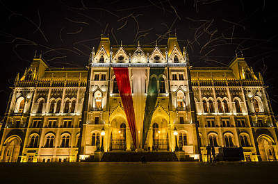 Hungarian Parliament At Night Poster by Pablo Lopez