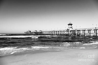 Huntington Beach Pier Black And White Picture Poster by Paul Velgos