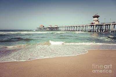 Huntington Beach Pier Vintage Toned Photo Poster by Paul Velgos