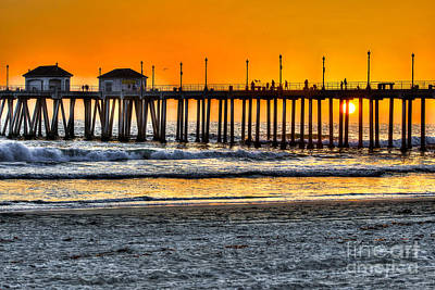 Huntington Beach Sunset Poster by Jim Carrell