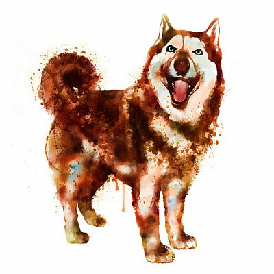 Husky Dog Watercolor Poster by Marian Voicu