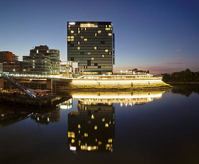 Hyatt Hotel At Dusk, Media Harbour Poster by Panoramic Images