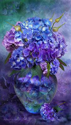 Hydrangeas In Hydrangea Vase Poster by Carol Cavalaris