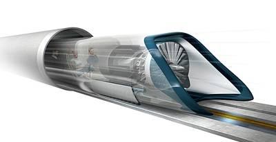 Hyperloop Transport Poster by Claus Lunau
