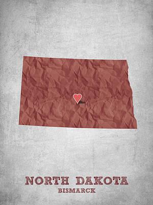 I Love Bismarck North Dakota - Red Poster by Aged Pixel