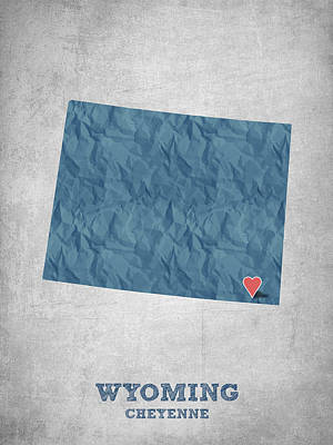 I Love Cheyenne Wyoming - Blue Poster by Aged Pixel