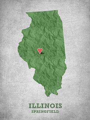 I Love Springfield Illinois - Green Poster by Aged Pixel