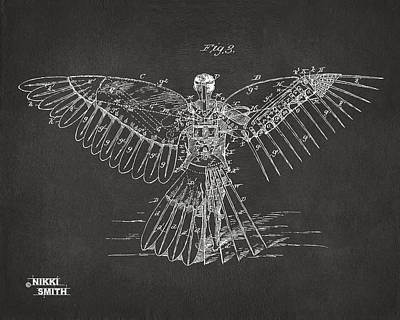 Icarus Human Flight Patent Artwork - Gray Poster by Nikki Marie Smith