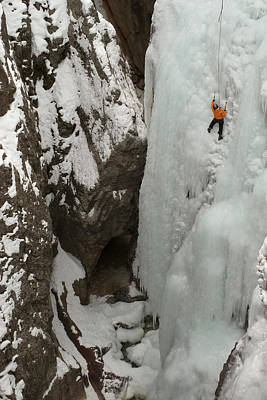Ice Climber Ascending At Ouray Ice Poster by Howie Garber