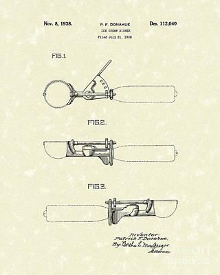Ice Cream Scoop 1938 Patent Art Poster by Prior Art Design