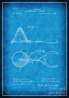Ice Cream Scoop Patent Drawing Poster by Susan Schroeder