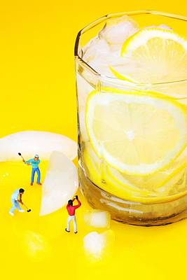 Ice Making For Lemonade Little People On Food Poster by Paul Ge