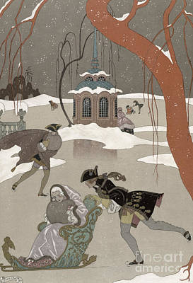 Ice Skating On The Frozen Lake Poster by Georges Barbier
