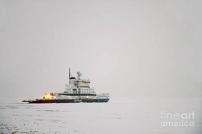 Icebreaker Ship In The Arctict  Poster by Lilach Weiss