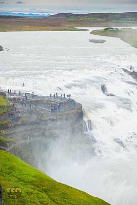 Gullfoss Waterfall Iceland Zoom Poster by Cliff C Morris Jr