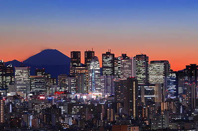 Iconic Mt Fuji With Shinjuku Skyscrapers Poster by Duane Walker