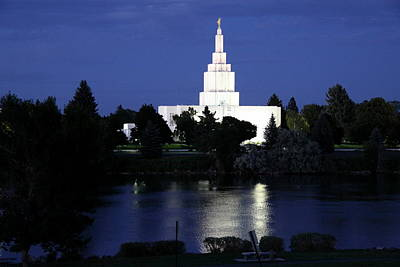 Idaho Falls Idaho Temple At Night Poster by Christiane Schulze Art And Photography