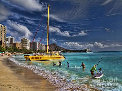 Idyllic Waikiki Beach Poster by David Smith