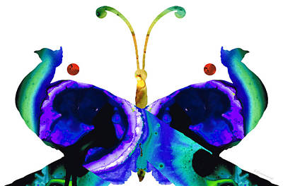 Illusion - Peacock Butterfly Art Painting Poster by Sharon Cummings