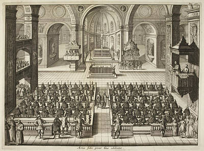 Illustration Of Church Interior Poster by British Library