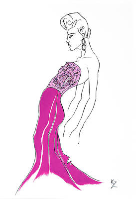 Illustration Of Fashion Model In Pink Sequin Dress. Poster by Kate Zucconi