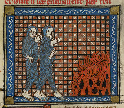 Illustration Of Two Men And A Fire Poster by British Library