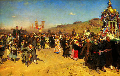 Ilya Repin Religious Procession In Kursk Province Poster by MotionAge Designs