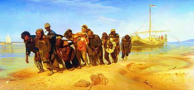 Ilya Repin Volga Barge Haulers 1873 Poster by MotionAge Designs