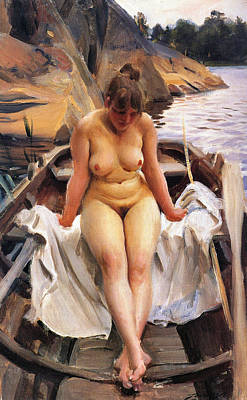 In Werners Rowing Boat Poster by Anders Zorn