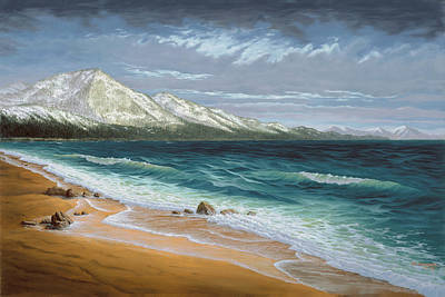 Incline Beach - North Shore - Lake Tahoe Poster by Del Malonee